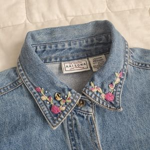 Vtg Arizona Jean Co Embellished Denim Button Up